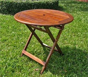 Round Outdoor Folding Wood Table