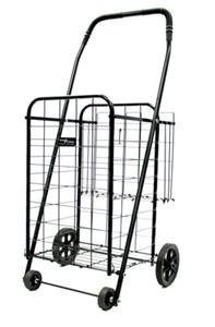Small folding shopping cart with basket