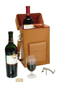 Leather Wine Travel Tote