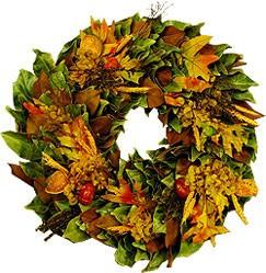Magnolia Company DMW227-24 Dried Autumn Leaf Wreath